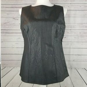 CAbi Faux Leather Top